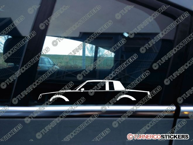 2x Car Silhouette stickers - Buick Regal Grand National / T-Type